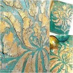 Wood Icing stenciled canvas art with Chalk Paint® and Gilding Paste.