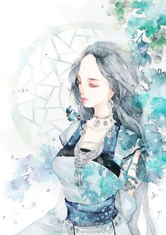 watercolor illustration 青葡萄-清茗__涂鸦王国插画
