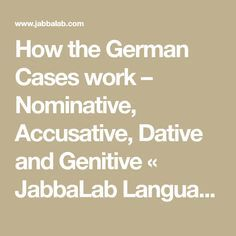 How the German Cases work – Nominative, Accusative, Dative and Genitive Foreign Language Teaching, German Language Learning, Language Study, German Grammar, German Words, Dative Case, Reflexive Verben, German Resources, Mandarin Lessons
