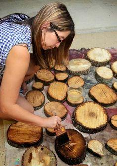 Disques en bois de bois de façon Jardin peignent la protection de soulignement