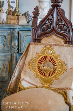 Antique French Altar Frontal Banner Lamb of by edithandevelyn: