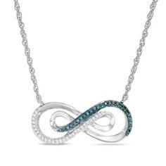 Zales 1/20 CT. T.w. Diamond Sideways Infinity Necklace in Sterling Silver dQIfa