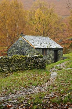 Cabins And Cottages: Autumn Cottage by fen-snapz - next to Ashness Brid. - Cabins And Cottages: Cabins And Cottages: Autumn Cottage by fen-snapz -… - Stone Cottages, Cabins And Cottages, Stone Houses, Stone Cottage Homes, Cute Cottage, Cottage Style, Witch Cottage, Irish Cottage, Cottages Anglais