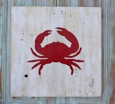 Handmade CRAB Wall Hanging Reclaimed Pallet Rustic Art Decor Wood Planks Nautical Beach House Sail Boat Nursery
