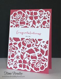 Congratulations - Engagement - Wedding - Detailed Floral Thinlets - White on Rose Red - Stampin Up - Fiona Bradley