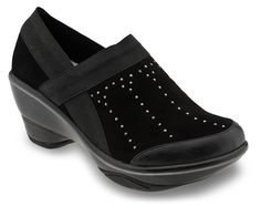 """http://www.jambu.com/item/cali-studs/wj13cst/001  Cali Studs Cali Studs is an edgy take on the 2 1/2"""" sporty wedge fan favorite. This year-round, easy to slip-on staple will carry you throughout all of your walks in life. In addition to the metallic piping and heel detail we have added on-trend studding to give this classic a touch more """"wow"""" factor!"""