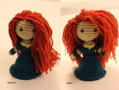 Merida's Hair Before and After
