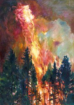 """""""Waldbrand I"""", Öl auf Leinwand, 190 x 130 cm"""