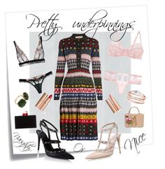 """""""You can be naughty or nice it's all in the pretty underpinnings"""" by shaynagitelsauer on Polyvore featuring Post-It, Dolce&Gabbana, Mary Katrantzou, La Perla, Valentino, Edie Parker, Charlotte Tilbury and Les Néréides"""