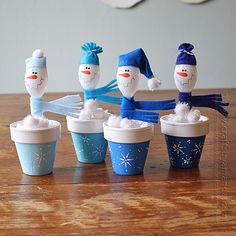 Spoon Snowmen in Clay Pots