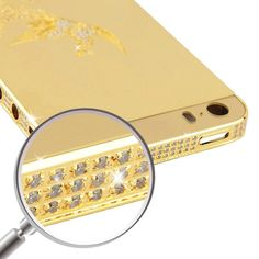 [USD98.52] [EUR91.73] [GBP70.89] iPartsBuy Full Housing Replacement Phoenix Pattern Diamond Aluminum Back Cover for iPhone 5S(Gold)