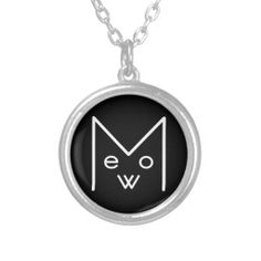 Round Necklace with Meow Design