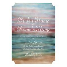 Ombr� Watercolor Beach Wedding Invitation