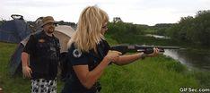 GIF: Woman and gun - www.gifsec.com