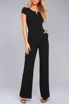 61a20c5ef41 Fashion Black Daily Fashion Short Sleeve Wide Leg Jumpsuit