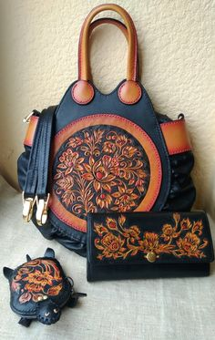 Leather Tooling, Leather Purses, Leather Handbags, Tooled Leather Purse, Leather Bracelets, Leather Pouch, Tote Handbags, Purses And Handbags, Leather Bags Handmade