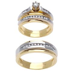 Amazoncom 10k Two Tone Gold His Hers Trio CZ Wedding Ring Sets