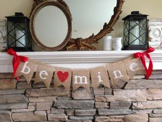Valentines Day Burlap Banner - Be Mine Banner - Valentines Decor - Valentines Day garland - Holiday Home Decor - Valentines Bunting by BurlapandTwineCo on Etsy https://www.etsy.com/listing/220550383/valentines-day-burlap-banner-be-mine