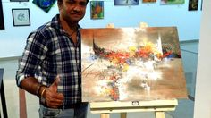 Abstract painting LIVE demo part 2 / Group show Lalitkala Academy Gujarat