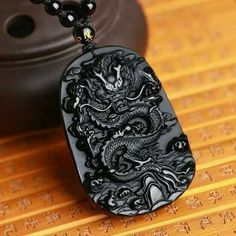 Natural Black Obsidian Carving Dragon Lucky Amulet