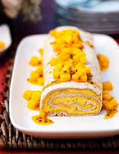 Mango and passionfruit meringue roulade.  http://www.madisonmag.com.au/life/food/best-recipes/mango-passionfruit-meringue-roulade.htm