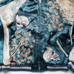 Japanese Vintage Script Punk Rock Sakura Cherry Blossoms Bone Skull Skeleton Blue Green Souvenir Sukajan Jacket - Japan Lover Me Store