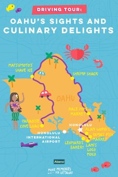 """In Hawaii, """"ono"""" means deliciousness. This driving guide shares the best places to taste island dishes on the island of Oahu, so you can make sure your next Hawaiian vacation is full of ono."""