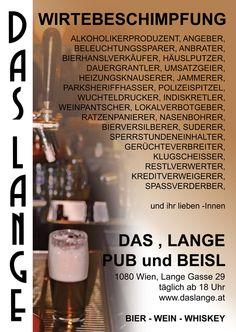 Das LANGE, Pub und Beisl  www.daslange.at  Plakat 2010 Salt, Food, Name Calling, Know It All, Beer, Poster, Essen, Yemek, Eten