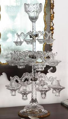 RARE ENGLISH CUT-GLASS THREE-TIER EPERGNE, FOURTH QUARTER 18TH CENTURY | in Pottery & Glass, Glass, Glassware, Cut Glass, Other Cut Glass | eBay