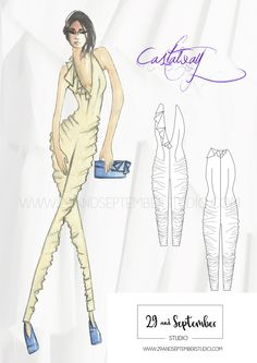 Stylish gathered jumpsuit fashion illustration. Fashion design services from just £25 by a top rated seller on freelance websites.