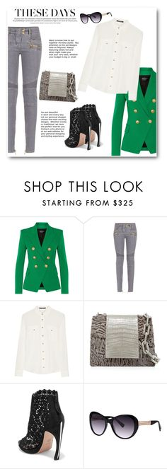 """Green, Gray & White"" by bliznec ❤ liked on Polyvore featuring Balmain, Nancy Gonzalez and Alexander McQueen"
