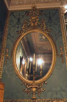 Made in 1773 for the State Bedroom by Thomas Chippendale, these giltwood oval mirrors were dismantled in the 1850s then re-discovered and restored to their original state in the 1970s.