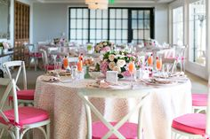 La Tavola Fine Linen Rental: Flow Pink with Majorca Stripe Azalea Napkins and Tuscany Lipstick Chair Cushions | Photography: Jessica Claire Photography, Venue: Montage Laguna Beach, Event & Floral Design: Bloombox Designs