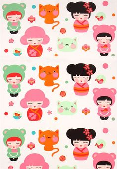 big Kokeshi doll kawaii girls fabric by Robert Kaufman USA 2