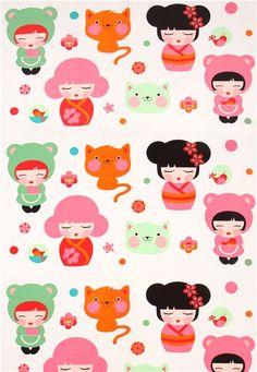 big Kokeshi doll kawaii girls fabric by Robert Kaufman USA