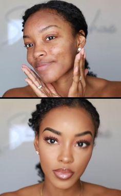 Black Girl Makeup Natural, Makeup For Black Skin, Full Face Makeup, Eyebrow Makeup, Makeup Eyes, Black Makeup Videos, Makeup Black Women, Black Wedding Makeup, Black Makeup Looks