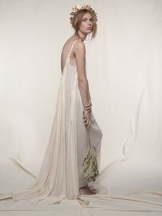 Gathered Gauze Maxi Dress / S027 - Loup Charmant