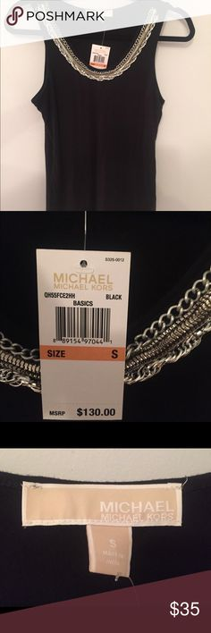 Michael Kors NWT Black Tank - chain neck detail S This is a new with tags Michael by Michael Kors black tank which retails for $130.  It had silver accent chain detail around the neck.  The chain has a bit of weight on it - luxurious feel.  Size is small. MICHAEL Michael Kors Tops Tank Tops
