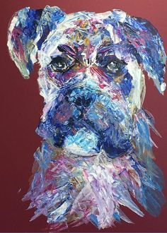 """Boxer Dog: A design by Kelly Goss Art printed on to 5 x 7"""" greeting cards for all occasions with semi-gloss finish. Customise your greeting. White envelope provided. The perfect greeting card for someone with a love of art, animals, pets and dogs."""