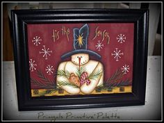 Primitive Canvas Holiday Art Snowman Home Decor Picture by Primgal