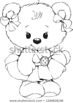 Bear Coloring Pages, Free Adult Coloring Pages, Disney Coloring Pages, Coloring Books, Art Drawings Sketches Simple, Cartoon Drawings, Animal Drawings, Easy Drawings, Teddy Bear Cartoon