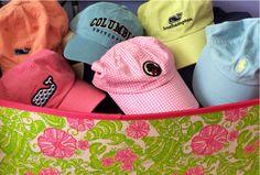 YourOhSoPreppyLove~basket of hats...lovin Columbia hat.