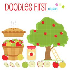 Apple Picking Day Digital Clip Art for Scrapbooking Card Making Cupcake Toppers Paper Crafts (2.99 USD) by DoodlesFirst