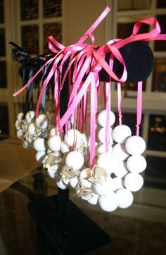DIY gumball pearl necklaces, lingerie shower, pearls and panties, pink and gold, bridal shower