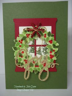 handmade by Julia Quinn  -    Independent Stampin' Up! Demonstrator: Watercolouring Wondrous Wreath on a Window