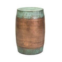 Add warmth and rustic simplicity to any indoor or outdoor space with this copper-plated stool. A mint-green verdigris patina accents the base and a subtle hammered texture lends the stool a tactile, vintage quality.