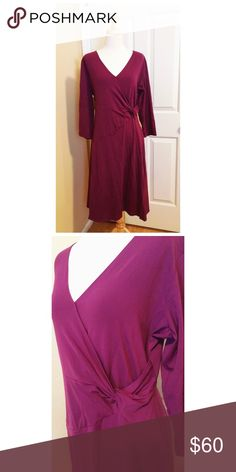 Travelsmith Faux Wrap Dress This pretty and comfy faux Wrap dress is made for style and comfort, with its 92% supplex nylon and 8% spandex blend, which also makes it shrink and fade resistant and faster drying than cotton. It's a flattering purple/aubergine color that suits everyone. It features ultra-fresh, which keeps this dress fresh and odor-free in case you decide to pack it up in your suitcase and take it on an adventure! travelsmith Dresses