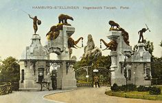 The entrance to Hagenbeck's zoo in Hamburg, c1910. Hagenbeck was a flamboyant character who supplied zoos and circuses with wild animals and native people. His zoo was the first to remove cages and build fake scenery and mountains so the animals could be seen in their 'natural' habitat. The entrance expresses the victorian confidence in their command of the natural world perfectly.