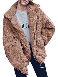 Kingspinner Women's Casual Zipper Jacket Winter Warm Parka Outwear Oversized Fluffy Coat with Pockets (Khaki, Best Winter Coats for Women USA Best Winter Coats, Winter Coats Women, Coats For Women, Jackets For Women, Clothes For Women, Teddy Bear Jacket, Bear Coat, Teddy Coat, Faux Shearling Coat