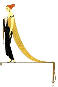 Erte Matted Print 1982 - READY for the BALL Dancing. Gold and Black GOWN Evening Dress Lady w Red Hair Art Deco Fashion Print Ready to Frame